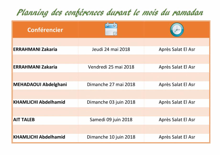 Conférences du mois de Ramadan 2018